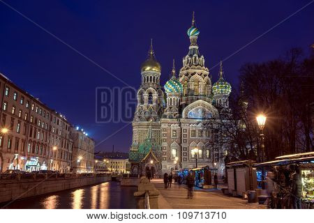 Church Of The Saviour On Spilled Blood At The Evening, St. Petersburg, Russia