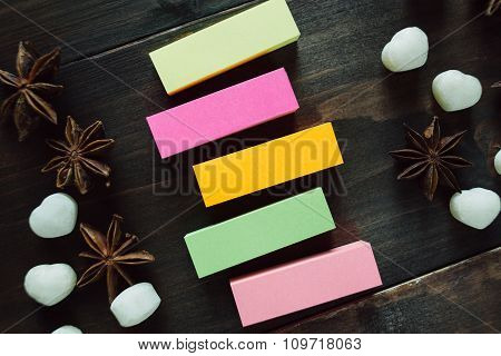 Colorful Blank Stickers On The Wooden Table
