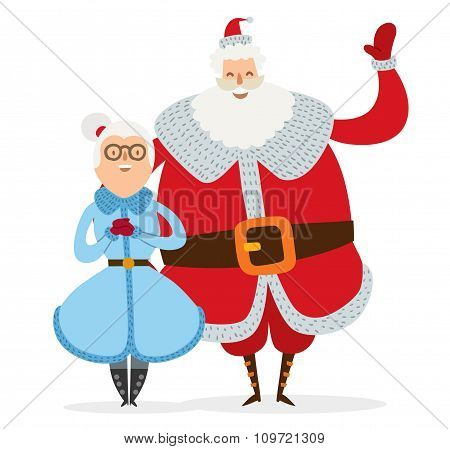 Santa and Missis Claus wife cartoot couple vector
