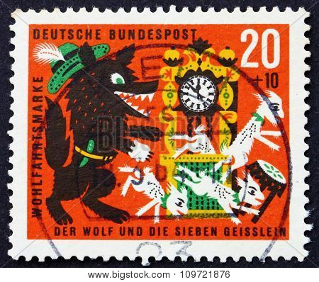Postage Stamp Germany 1963 Scene From The Wolf And The Seven Kid