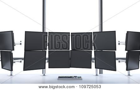 3D Rendering Of Office With Switched Off Monitors, Processing Data For Trading, Window At The Backgr