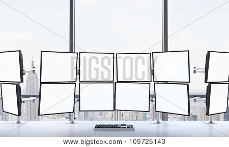3D Rendering Of Office With Blank Monitors, Processing Data For Trading, Window At The Background