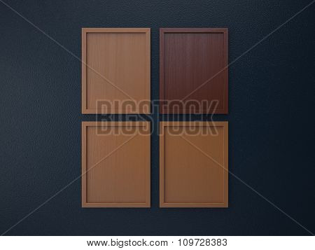 blank frame on interior wall brown and darkblue tone color, 3d rendering image
