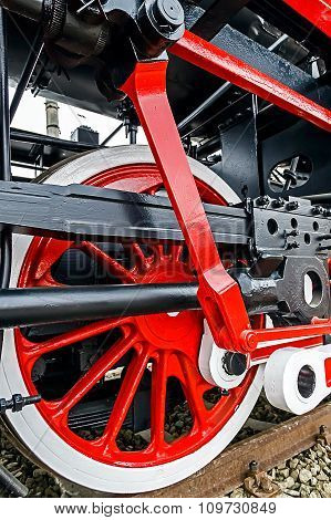 Detail And Close Up Of Huge Wheels At One Old German Steam Locomotive 8