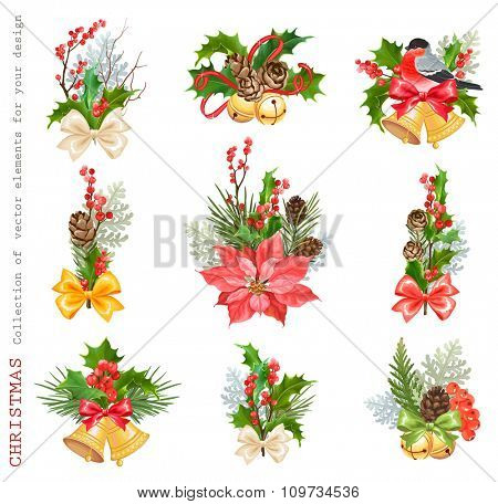 Christmas Collection of design floral decorations with pine cones, winter red berries, holly, thuja, flower Poinsettia, bullfinch and colorful bows.