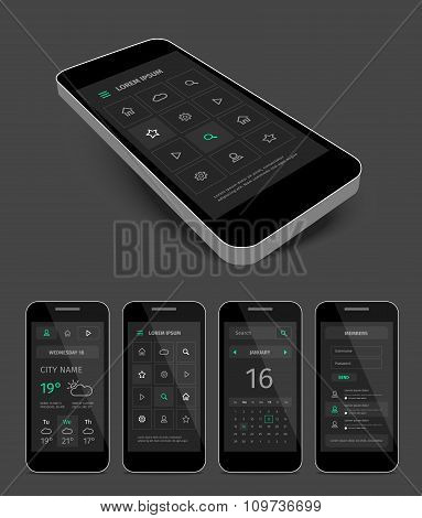 Dark mobile user aplication interface template with green.