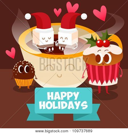 Postcard Valentine's Day. Glass of milk with pieces of cookies. Comic food. Illustration with funny