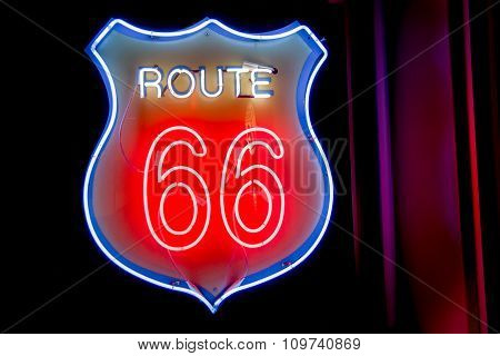 Neon Window Sign At 50's Style Historic Route 66,