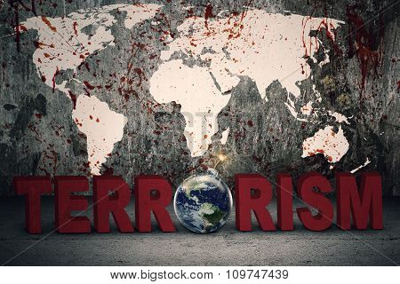 Bloody Map With Terrorism Text