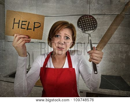 Desperate Inexperienced Home Cook Woman Crying In Stress Desperate Holding Rolling Pin And Help Sign