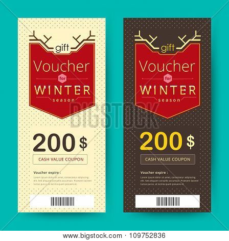 Gift Voucher Template With Winter Season Concept. Vector Illustration.