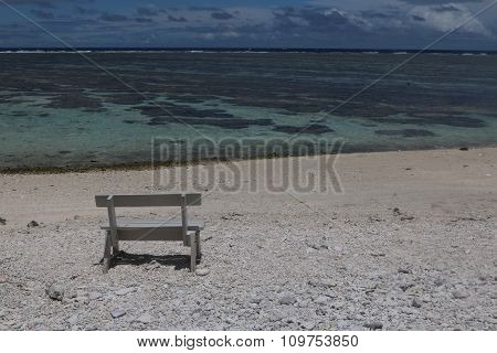 A seat overlooking the lagoon, Lady Elliot Island, part of the Great Barrier Reef.
