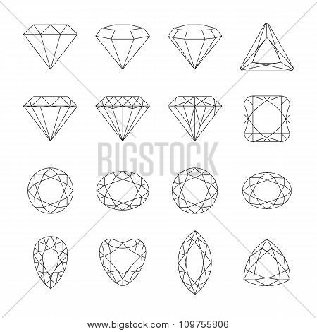 Diamond Vector Icons Set.