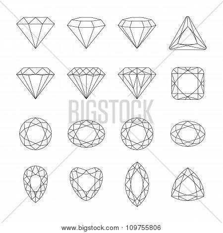 Diamond Vector Icons Set.