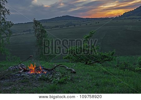 Campfire Outdoors At Sunset