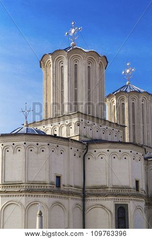 Romanian Patriarchal Cathedral on Dealul Mitropoliei on blue sky in Bucharest, Romania.