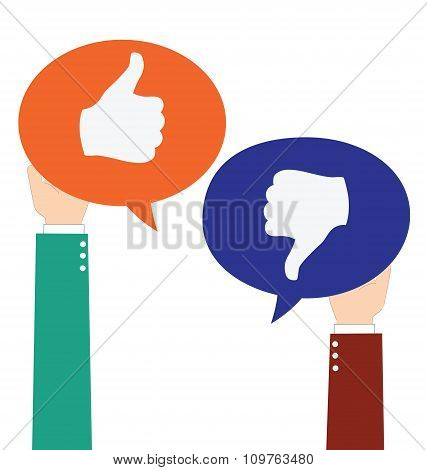 Businessman Hold Like And Unlike Speech Bubble