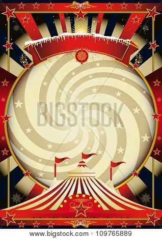 big top cream christmas circus. A vintage circus background for christmas