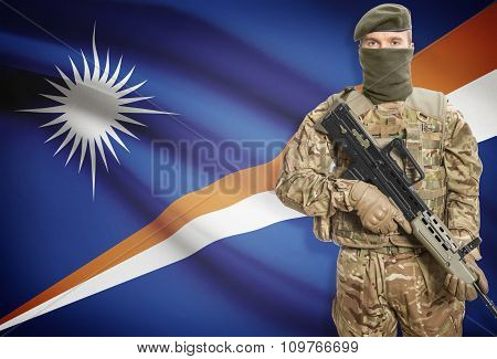 Soldier Holding Machine Gun With Flag On Background Series - Marshall Islands