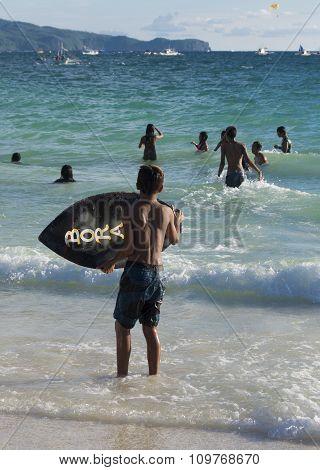 Boy With Wake Board