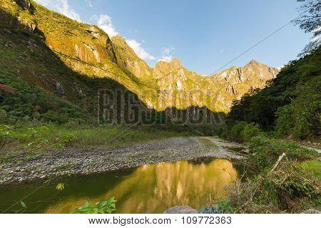 Urubamba River And Machu Picchu Mountains, Peru