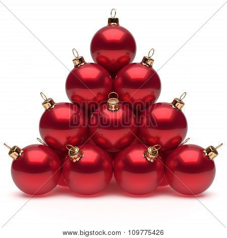 Pyramid Christmas balls red New Year's Eve baubles group adornment decoration glossy spheres ornament. Happy Merry Xmas traditional wintertime holidays celebrate greeting card concept poster