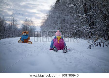 Baby Girl Crawling To Teddy Bear