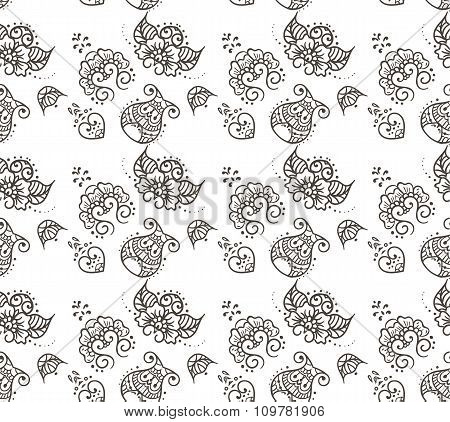 Indian Ornamental Hund Drawno Henna Tattoo Mandy doodle seamless pattern vector batskground