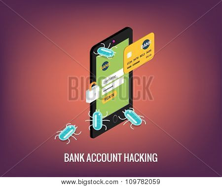 Hacker activity mobile phone and viruses bank account hacking flat illustration.