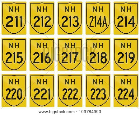 Collection of route shields of Indian National highways. poster