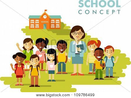 Students group and teacher on school background in flat style