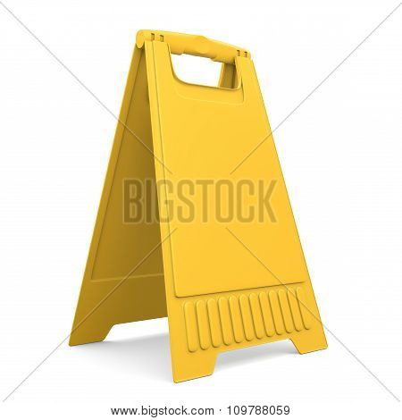 Yellow Sign Board Stand. 3D.