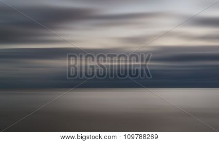 Conceptual Landscape Image Of Motion Blur In The Ocean During Sunset