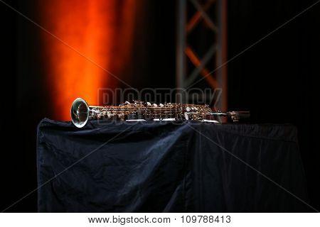 Close up of Saxophone soprano jazz music instrument poster