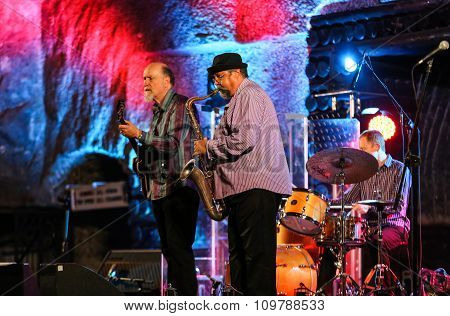 WIELICZKA POLAND - NOVEMBER 2 2015: John Scofield and Joe Lovano Quartet playing live music at The Cracow Jazz All Souls Day Festival in The Wieliczka Salt Mine. Poland