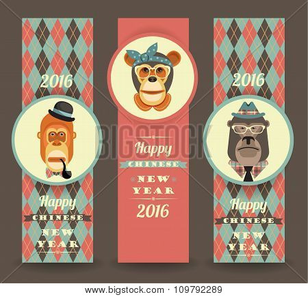 Vector Illustration Of Monkeys, Symbol Of 2016.