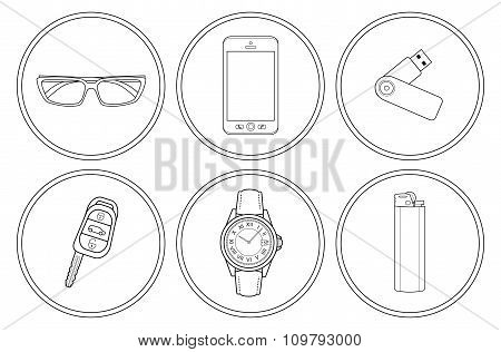Every day carry detailed linear icons set