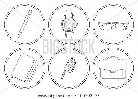 Business detailed linear icons set