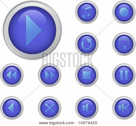 Blue Media Buttons Set