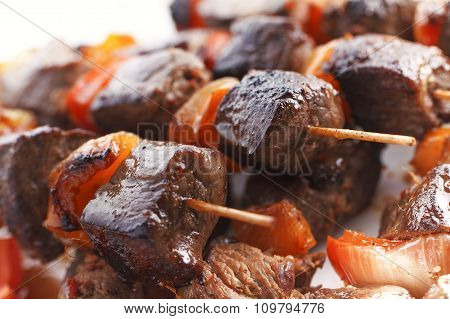 Grilled Juicy Skewered Shashlik on a Plate.