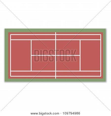 A Field For Tennis, Vector Illustration.