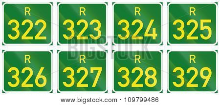 Collection of South African Regional route signs. poster