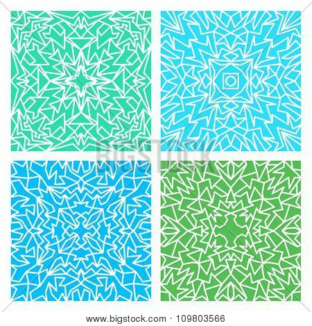 Set Of Four Blue And Green Lacy Seamless Eastern Patterns