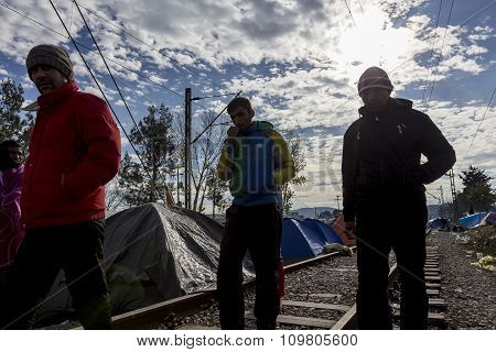 Idomeni, Greece - August 19 , 2015: Hundreds Of Immigrants Are In A Wait At The Border Between Greec