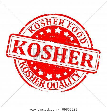 Damaged Red Round Seal With The Inscription - Kosher Food Quality - Illustration