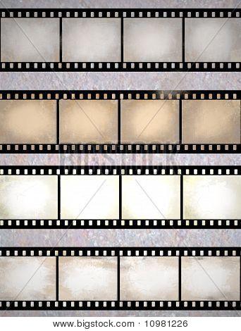 Vintage Scratched Film Strips