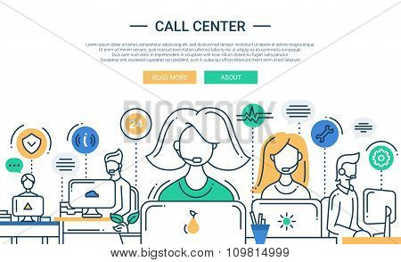 Illustration of modern line flat design composition, infographics elements with call center support