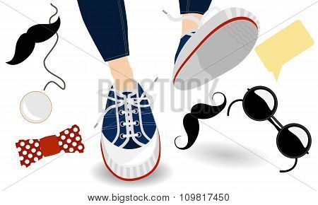 Funny hipster sneakers and other teenage accessories