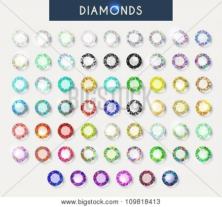 Big set 60 realistic colorful crystals, light reflection and shadow