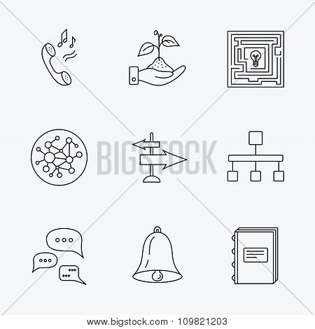 Conversation, global network and direction icon.